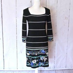 White House Black Market Black floral Shift Dress